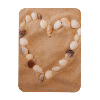Close up of heart shape made of shells on sand magnet