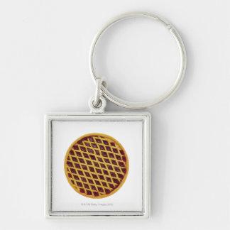 Close-up of jam tart keychain