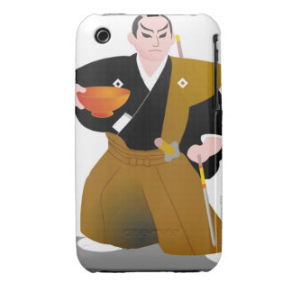 Close up of Japanese male doll holding cup and iPhone 3 Case-Mate Cases