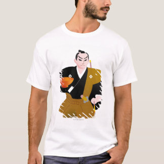 Close up of Japanese male doll holding cup and T-Shirt