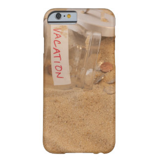 Close up of jar with coins spilled on sand barely there iPhone 6 case