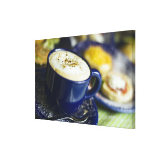 Close-up of latte on table canvas prints
