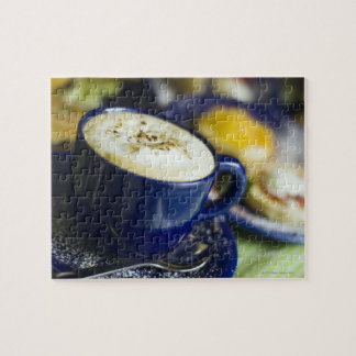 Close-up of latte on table jigsaw puzzle