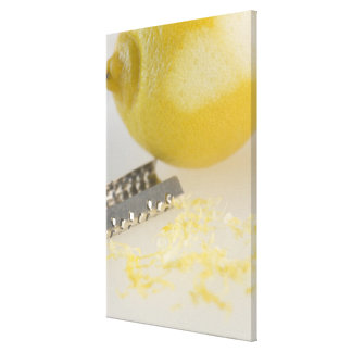 Close-up of lemon and grater canvas print
