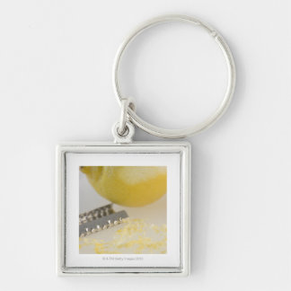Close-up of lemon and grater Silver-Colored square keychain