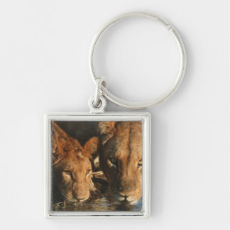 Close up of Lioness (Panthera leo) and cub Keychain