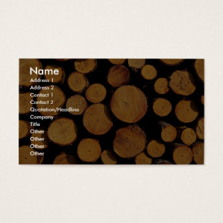 Close-up of logs business card
