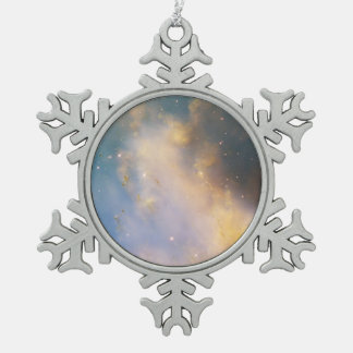 Close-Up of M27, the Dumbbell Nebula Snowflake Pewter Christmas Ornament