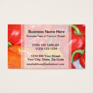 Close up of mainly red hot peppers business card