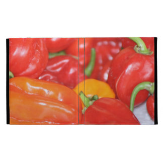 Close up of mainly red hot peppers iPad folio covers