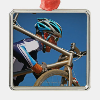 Close up of man cyclocross racing metal ornament