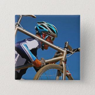 Close up of man cyclocross racing pinback button