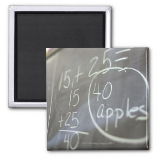 Close up of math problem on the chalkboard of an 2 inch square magnet