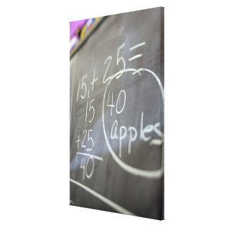 Close up of math problem on the chalkboard of an canvas print