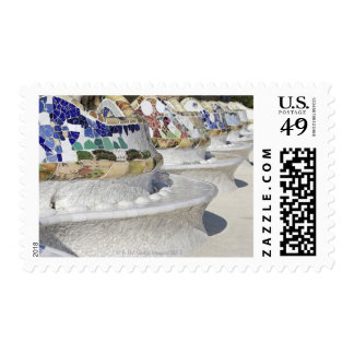 Close-up of Mosaics on Gaudi Building Parc Postage Stamp