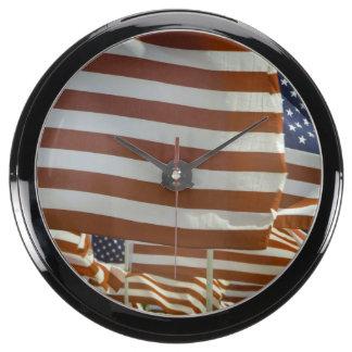 Close-Up of Multiple U.S. Flags Aqua Clock