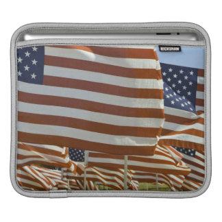 Close-Up of Multiple U.S. Flags iPad Sleeve
