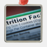 Close-up of nutrition information christmas tree ornament