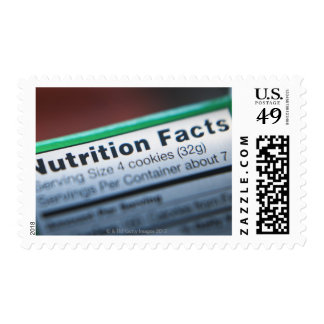 Close-up of nutrition information postage