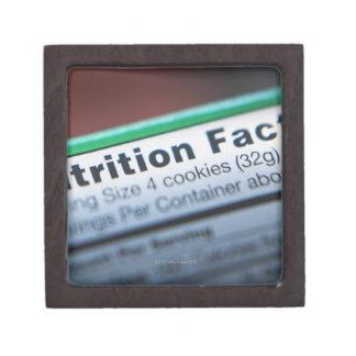 Close-up of nutrition information premium trinket box