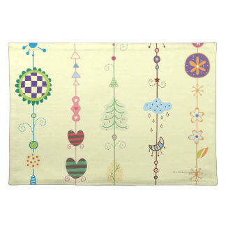 Close-up of ornaments cloth placemat