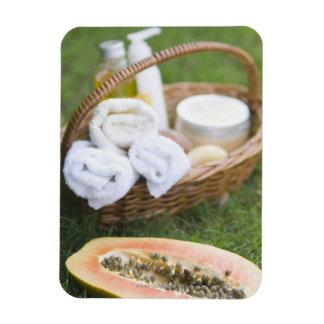 Close-up of papaya massage therapy treatment magnet
