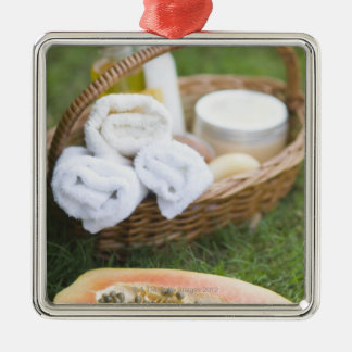 Close-up of papaya massage therapy treatment square metal christmas ornament