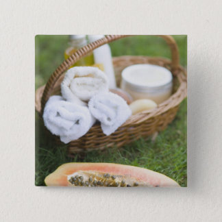 Close-up of papaya massage therapy treatment pinback button