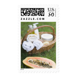 Close-up of papaya massage therapy treatment postage