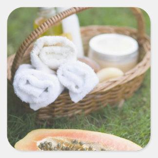 Close-up of papaya massage therapy treatment square sticker