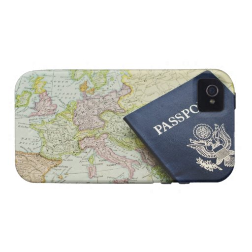 Close-up of passport lying on European map Case-Mate iPhone 4 Case