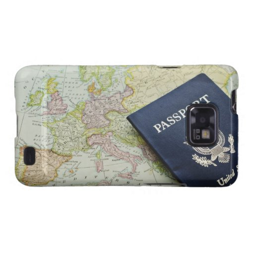 Close-up of passport lying on European map Galaxy S2 Case