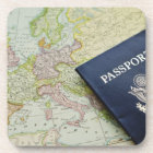 Close-up of passport lying on European map Drink Coaster