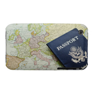 Close-up of passport lying on European map iPhone 3 Case