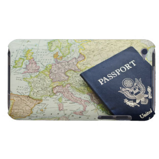 Close-up of passport lying on European map iPod Touch Case-Mate Case
