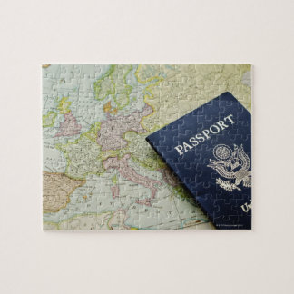 Close-up of passport lying on European map Jigsaw Puzzle