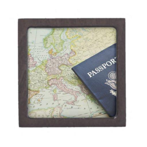 Close-up of passport lying on European map Premium Keepsake Boxes