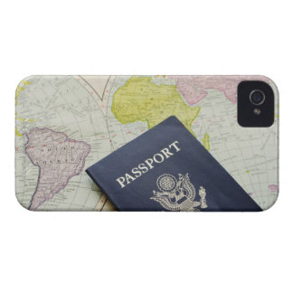 Close-up of passport lying on map iPhone 4 case