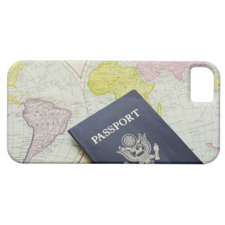 Close-up of passport lying on map iPhone SE/5/5s case