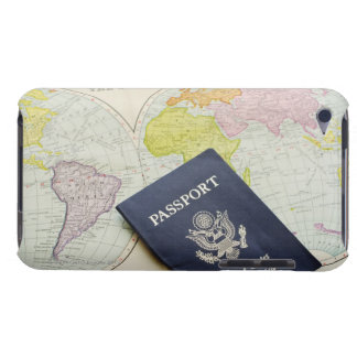 Close-up of passport lying on map iPod touch cover