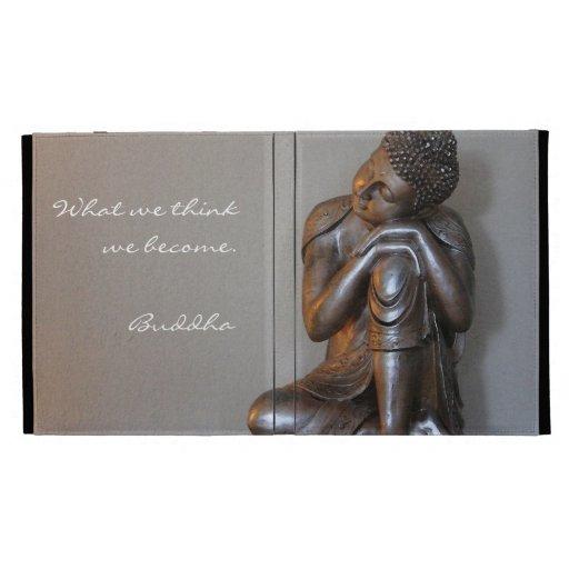 Close up of peaceful silver Buddha iPad Folio Cases