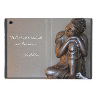 Close up of peaceful silver Buddha Covers For iPad Mini
