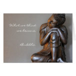 Close up of peaceful silver Buddha Greeting Card