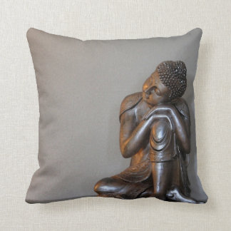 Close up of peaceful silver Buddha Throw Pillow