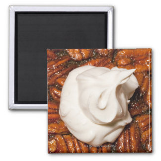close up of pecan pie with whipped cream 2 inch square magnet