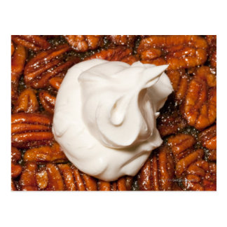 close up of pecan pie with whipped cream postcard