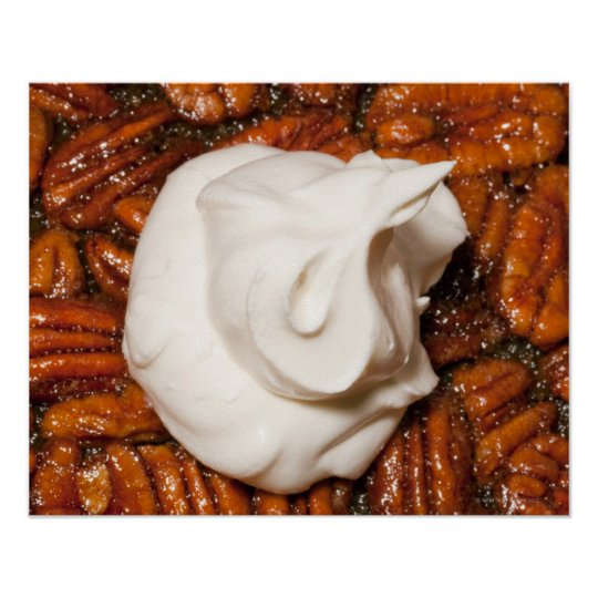 close up of pecan pie with whipped cream poster