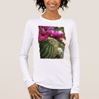 Close Up of Pink Cactus Flowers Long Sleeve T-Shirt