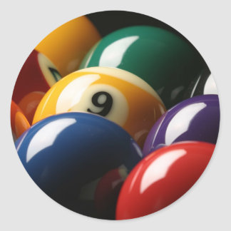 Close Up of Pool Balls Classic Round Sticker