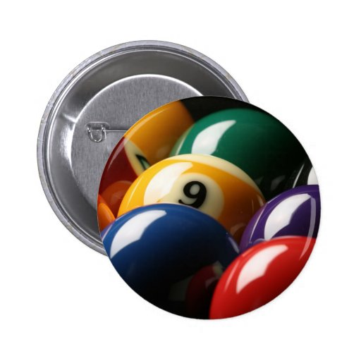Close Up of Pool Balls Pinback Button